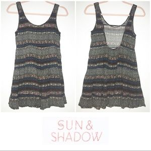 Sun & Shadow Floral Striped Ruffled Tank Blouse XS